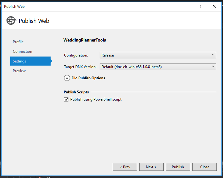 Publish web app settings